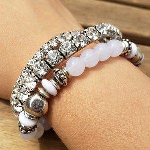 Jewelry - 2 Sparkly Rhinestone & 1 Beaded White Bracelet NEW